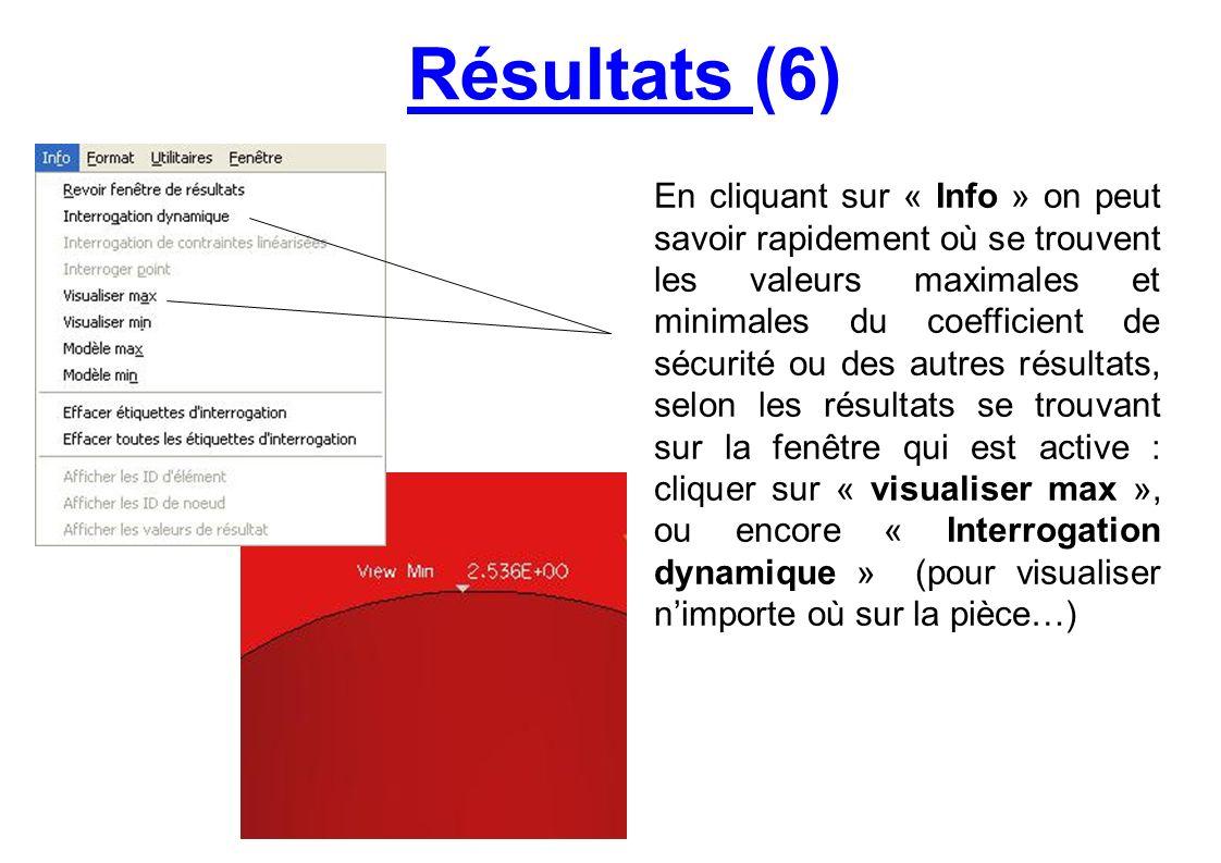 Résultats (6) En cliquant sur « Info » on peut savoir rapidement où se trouvent les valeurs maximales et minimales du coefficient de sécurité ou des a