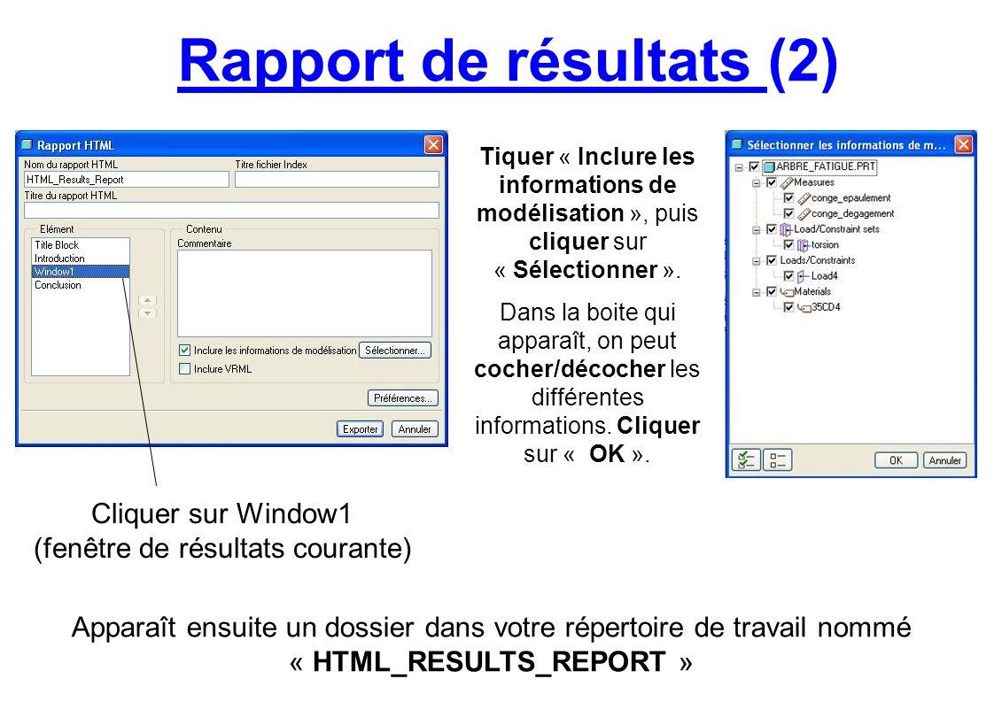 Rapport de résultats (2) Apparaît ensuite un dossier dans votre répertoire de travail nommé « HTML_RESULTS_REPORT » Cliquer sur Window1 (fenêtre de ré