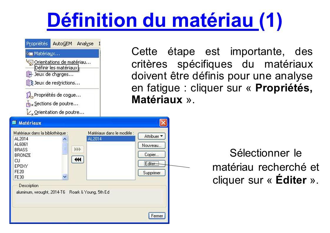 Définition du matériau (2) Dans longlet « Fatigue » il est impératif de renseigner la limite à rupture en traction (en fatigue) pour réaliser une analyse en fatigue.