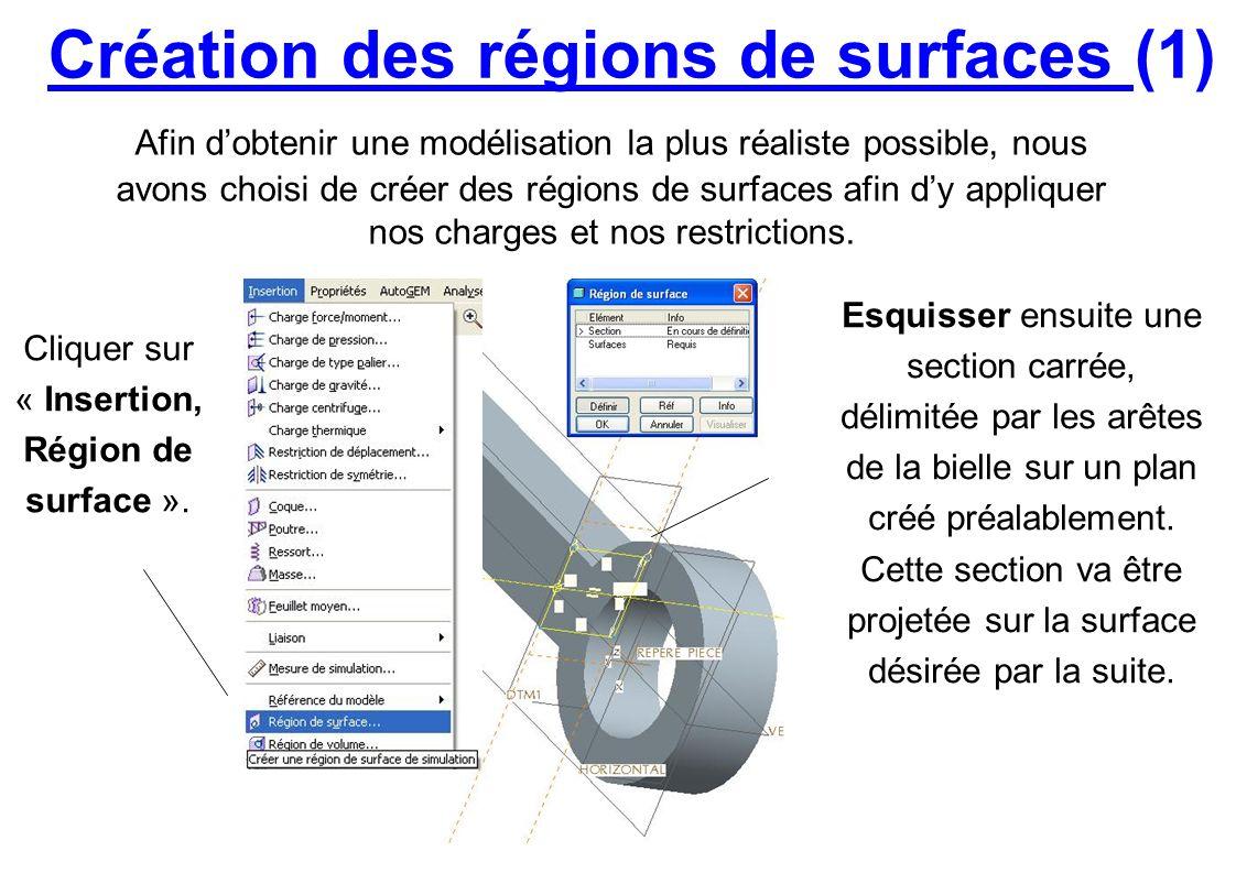 Création des régions de surfaces (1) Afin dobtenir une modélisation la plus réaliste possible, nous avons choisi de créer des régions de surfaces afin