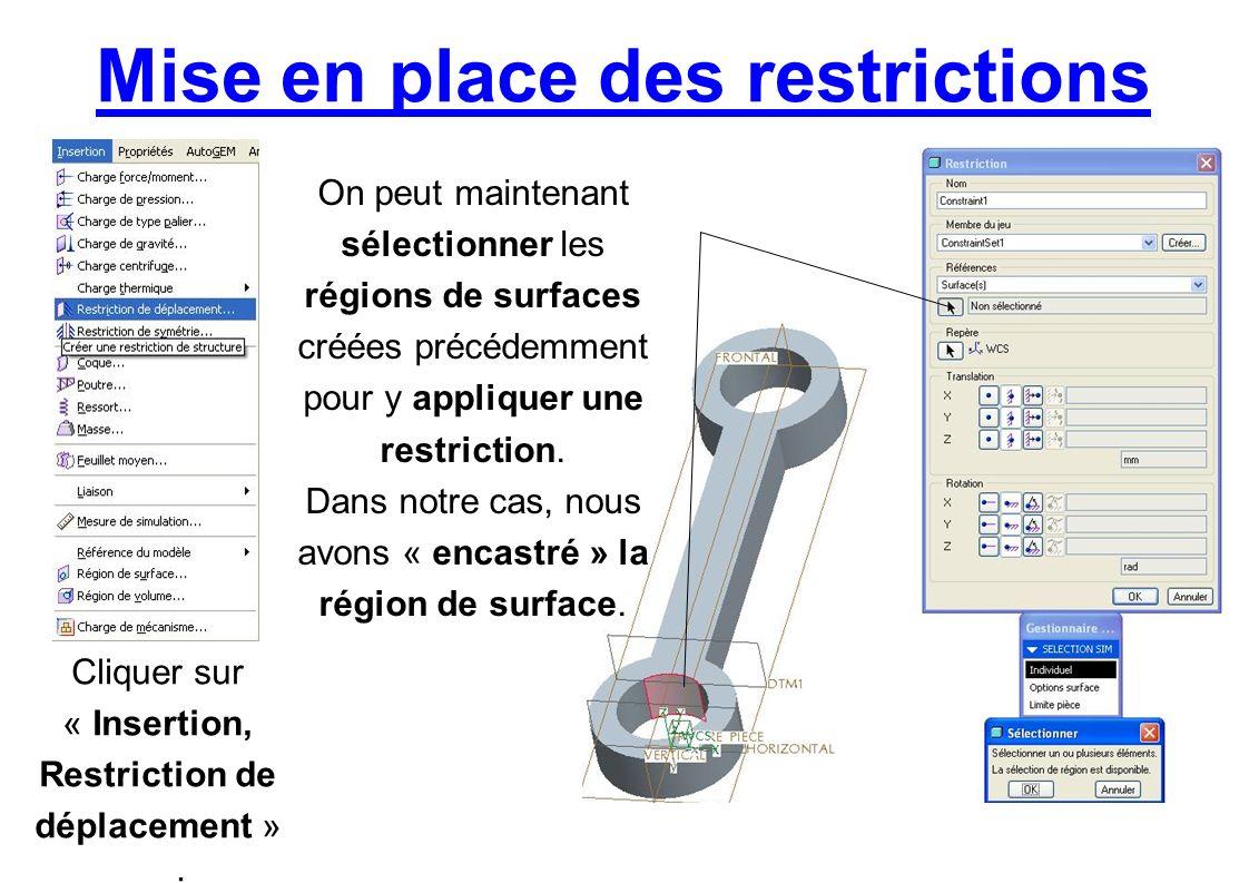 Mise en place des restrictions Cliquer sur « Insertion, Restriction de déplacement ». On peut maintenant sélectionner les régions de surfaces créées p