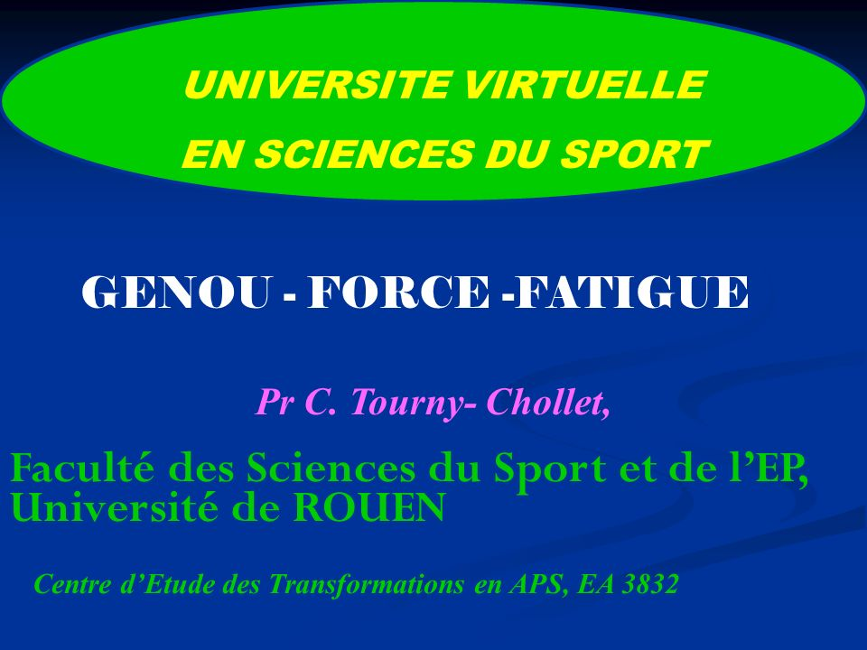 UNIVERSITE VIRTUELLE EN SCIENCES DU SPORT Centre dEtude des Transformations en APS, EA 3832 Pr C.