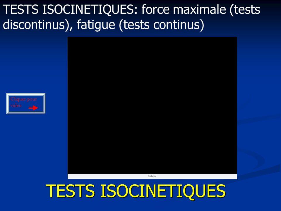 TESTS ISOCINETIQUES TESTS ISOCINETIQUES: force maximale (tests discontinus), fatigue (tests continus) Cliquer pour vidéo