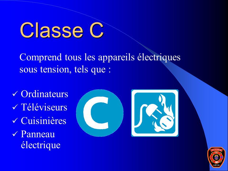Classe C Comprend tous les appareils électriques sous tension, tels que : Ordinateurs Téléviseurs Cuisinières Panneau électrique