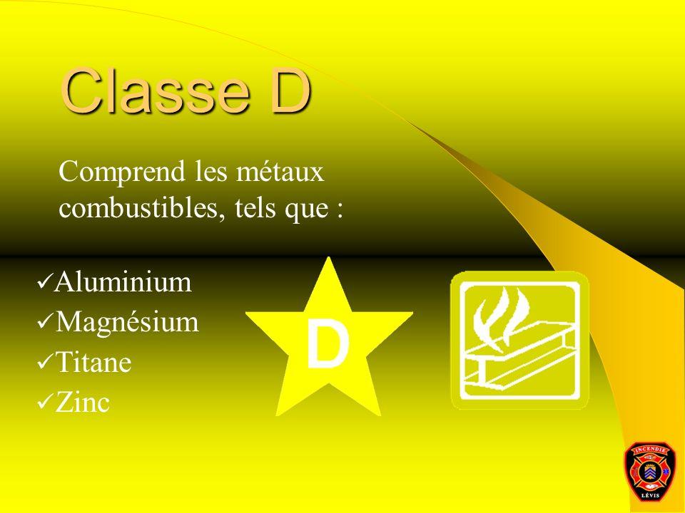 Classe D Comprend les métaux combustibles, tels que : Aluminium Magnésium Titane Zinc