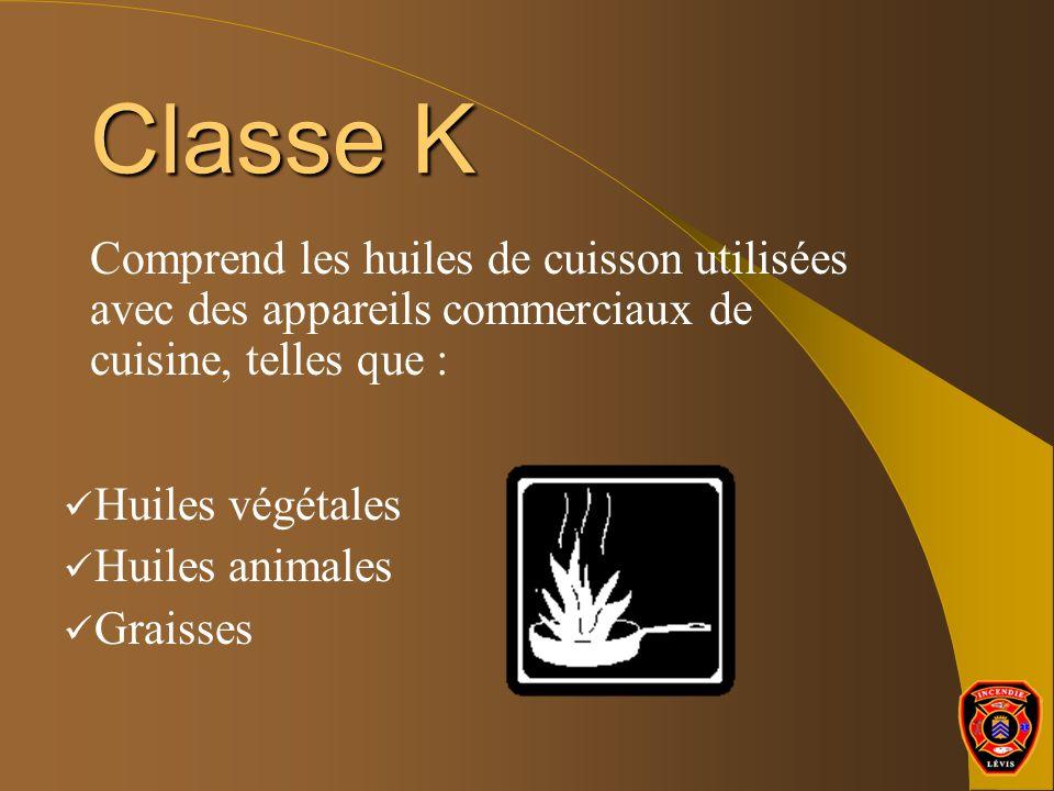 Classe K Comprend les huiles de cuisson utilisées avec des appareils commerciaux de cuisine, telles que : Huiles végétales Huiles animales Graisses