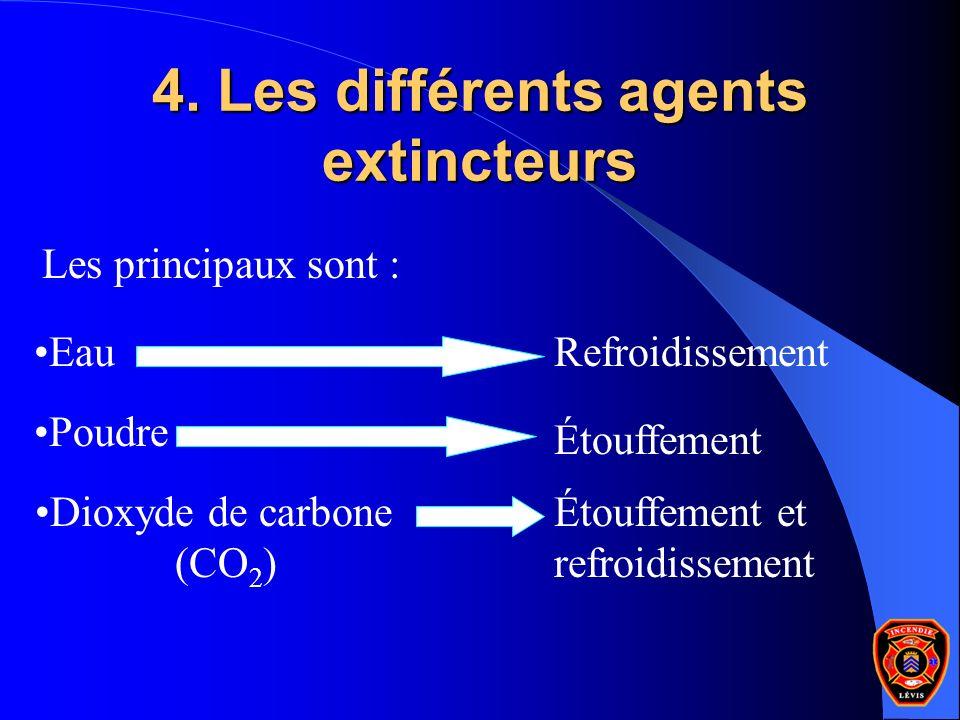 4. Les différents agents extincteurs Poudre Eau Dioxyde de carbone (CO 2 ) Les principaux sont : Refroidissement Étouffement Étouffement et refroidiss