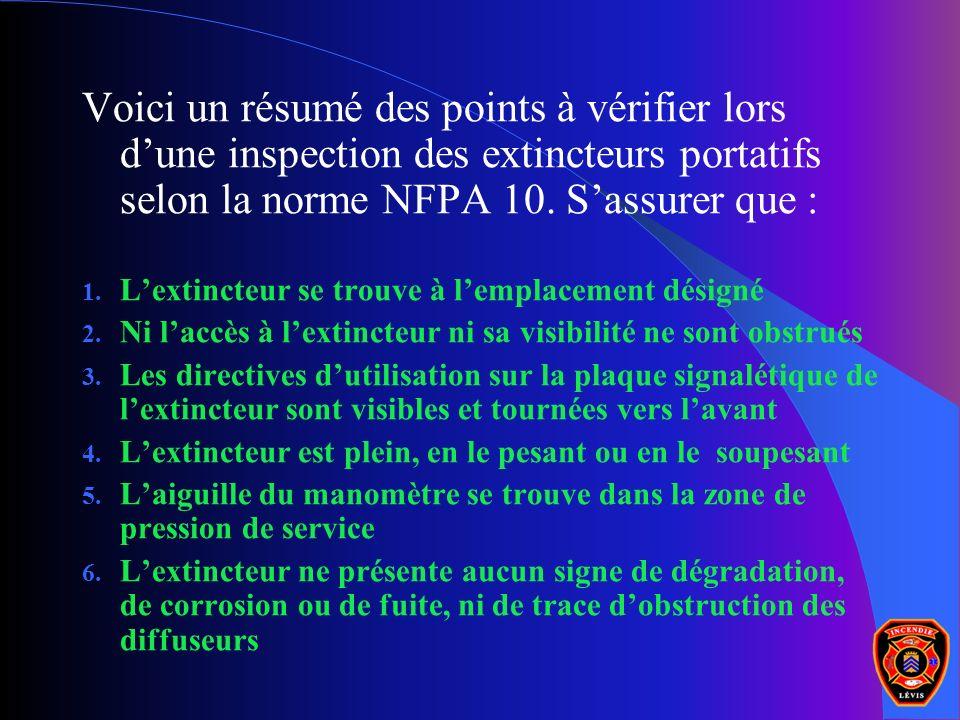 Voici un résumé des points à vérifier lors dune inspection des extincteurs portatifs selon la norme NFPA 10. Sassurer que : 1. Lextincteur se trouve à