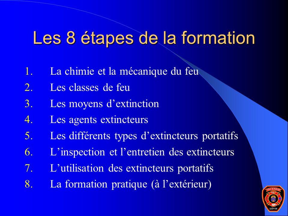 Les 8 étapes de la formation 1.La chimie et la mécanique du feu 2.Les classes de feu 3.Les moyens dextinction 4.Les agents extincteurs 5.Les différent