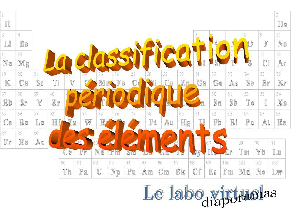 La recherche dune classification En 1817, Davy classe les éléments chimiques en fonction de leurs propriétés.