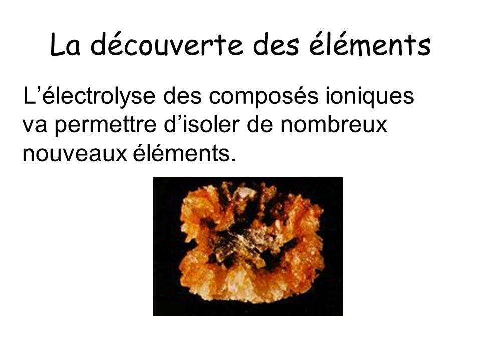 La découverte des éléments Lélectrolyse des composés ioniques va permettre disoler de nombreux nouveaux éléments.