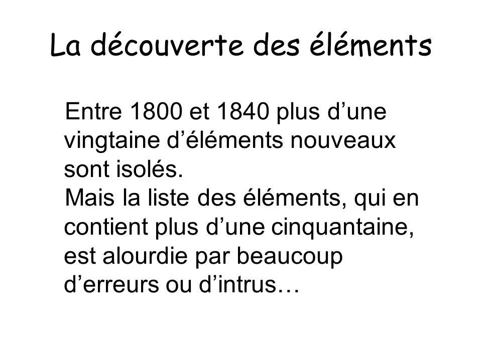 La découverte des éléments Entre 1800 et 1840 plus dune vingtaine déléments nouveaux sont isolés. Mais la liste des éléments, qui en contient plus dun