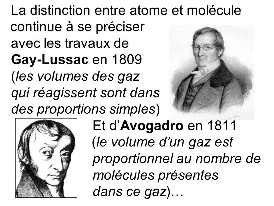 La distinction entre atome et molécule continue à se préciser avec les travaux de Gay-Lussac en 1809 (les volumes des gaz qui réagissent sont dans des