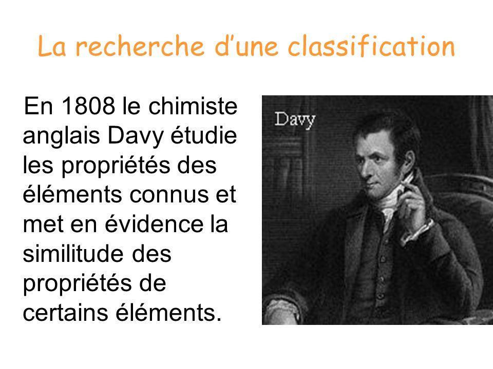 La recherche dune classification En 1808 le chimiste anglais Davy étudie les propriétés des éléments connus et met en évidence la similitude des propr