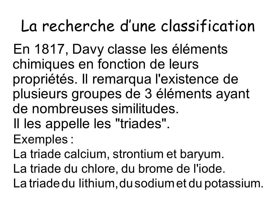 La recherche dune classification En 1817, Davy classe les éléments chimiques en fonction de leurs propriétés. Il remarqua l'existence de plusieurs gro