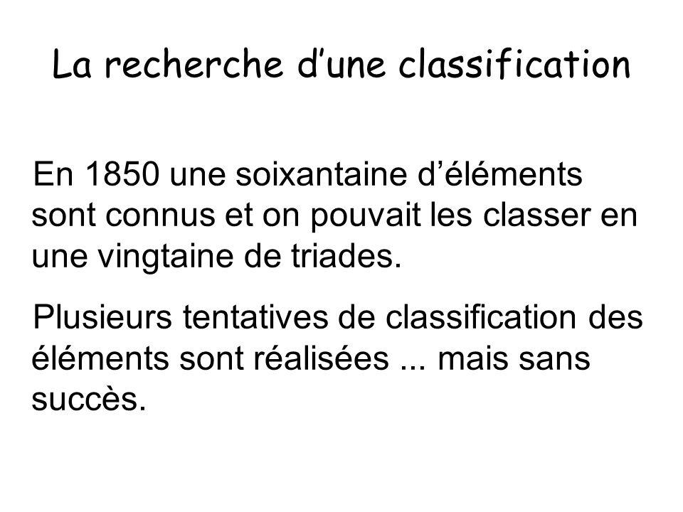 La recherche dune classification En 1850 une soixantaine déléments sont connus et on pouvait les classer en une vingtaine de triades. Plusieurs tentat