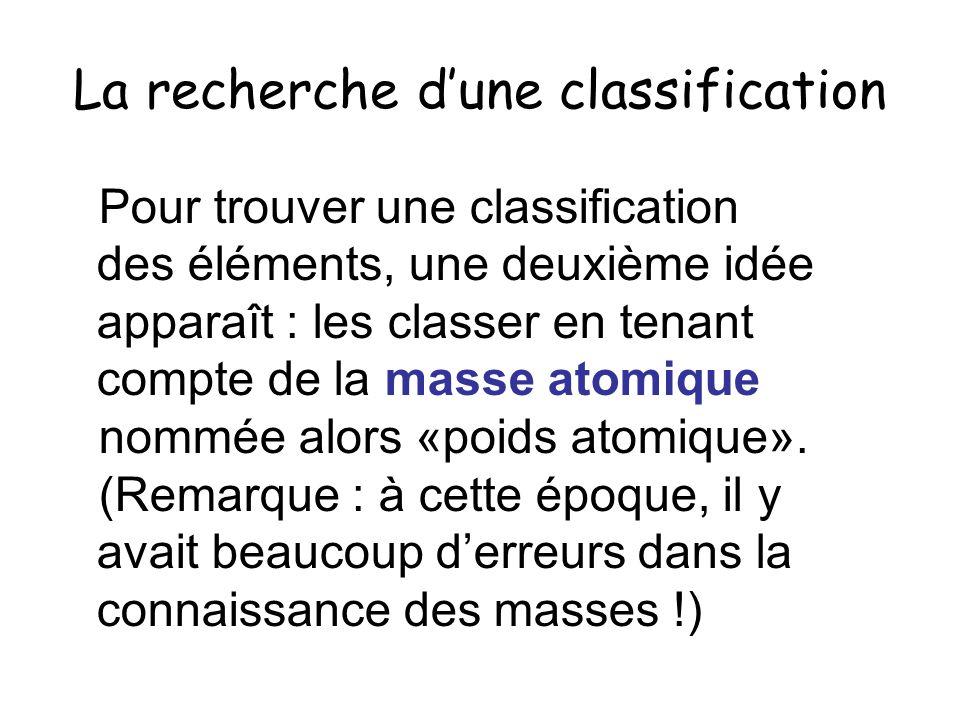 La recherche dune classification Pour trouver une classification des éléments, une deuxième idée apparaît : les classer en tenant compte de la masse a