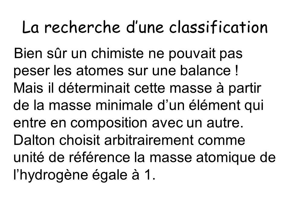 La recherche dune classification Bien sûr un chimiste ne pouvait pas peser les atomes sur une balance ! Mais il déterminait cette masse à partir de la