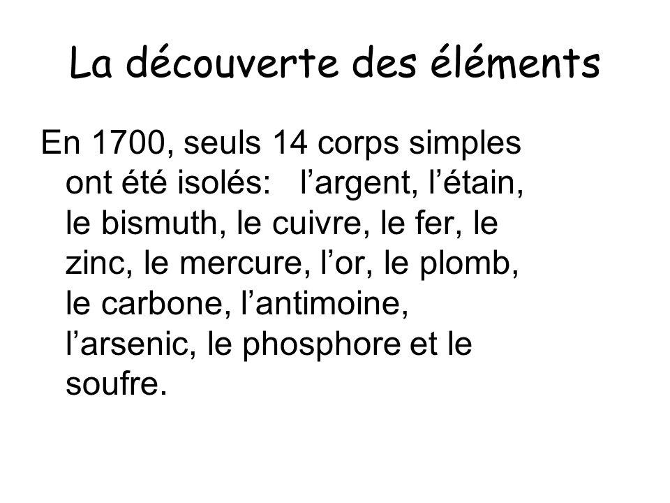 La découverte des éléments En 1700, seuls 14 corps simples ont été isolés: largent, létain, le bismuth, le cuivre, le fer, le zinc, le mercure, lor, l