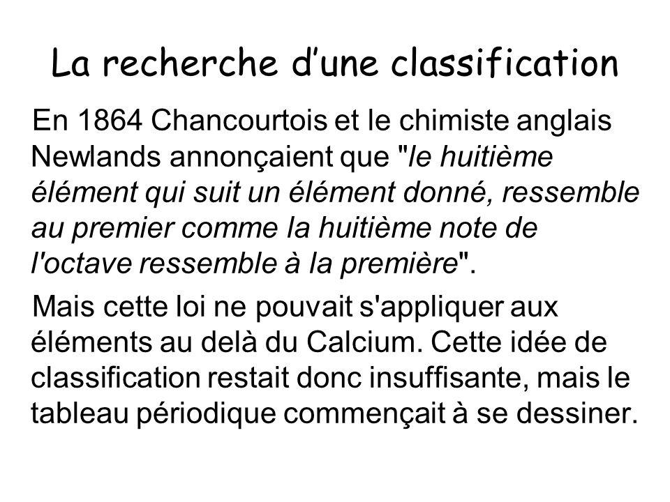 La recherche dune classification En 1864 Chancourtois et le chimiste anglais Newlands annonçaient que