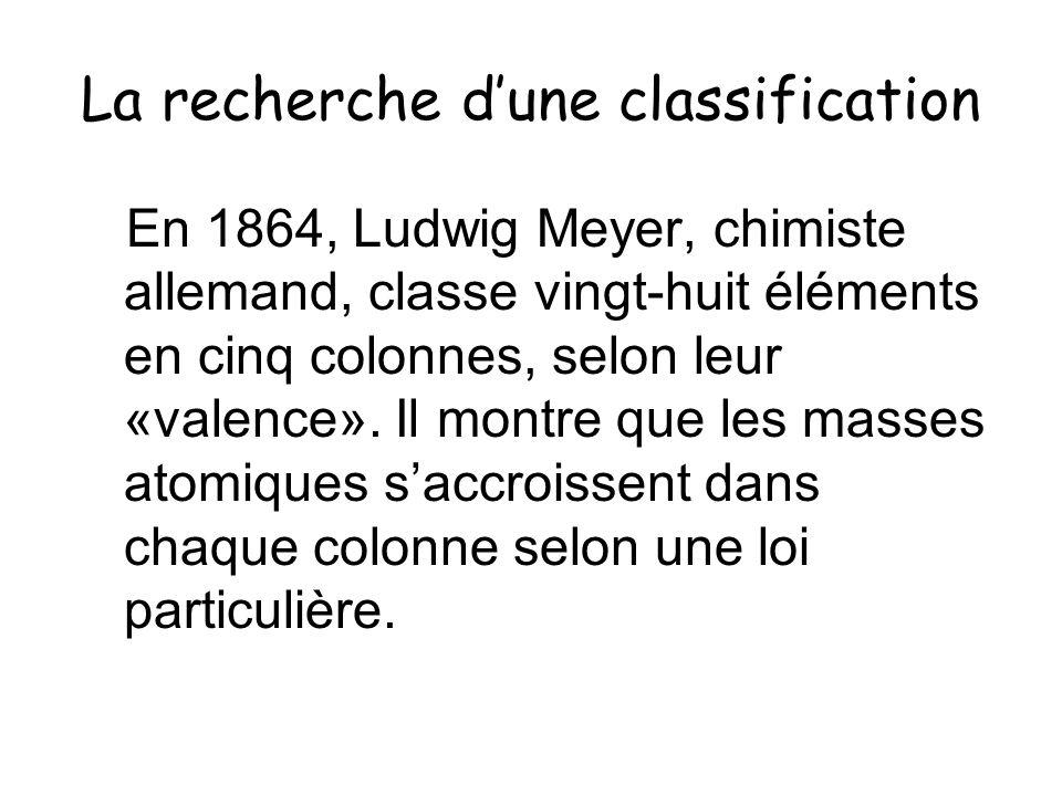 La recherche dune classification En 1864, Ludwig Meyer, chimiste allemand, classe vingt-huit éléments en cinq colonnes, selon leur «valence». Il montr