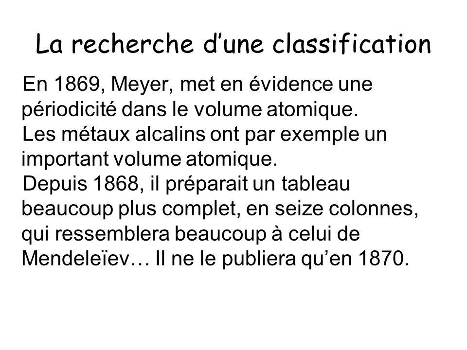 La recherche dune classification En 1869, Meyer, met en évidence une périodicité dans le volume atomique. Les métaux alcalins ont par exemple un impor