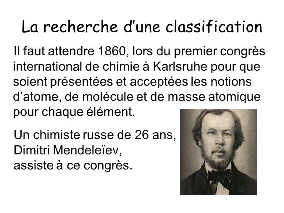 La recherche dune classification Il faut attendre 1860, lors du premier congrès international de chimie à Karlsruhe pour que soient présentées et acce
