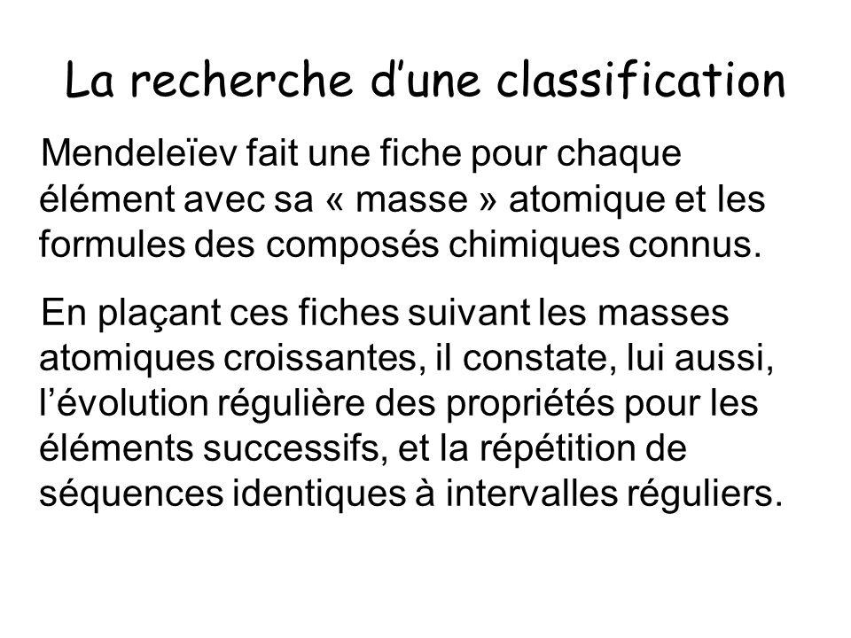 La recherche dune classification Mendeleïev fait une fiche pour chaque élément avec sa « masse » atomique et les formules des composés chimiques connu
