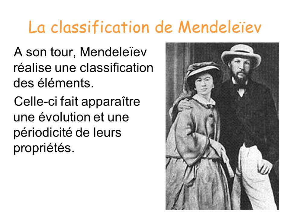 La classification de Mendeleïev A son tour, Mendeleïev réalise une classification des éléments. Celle-ci fait apparaître une évolution et une périodic