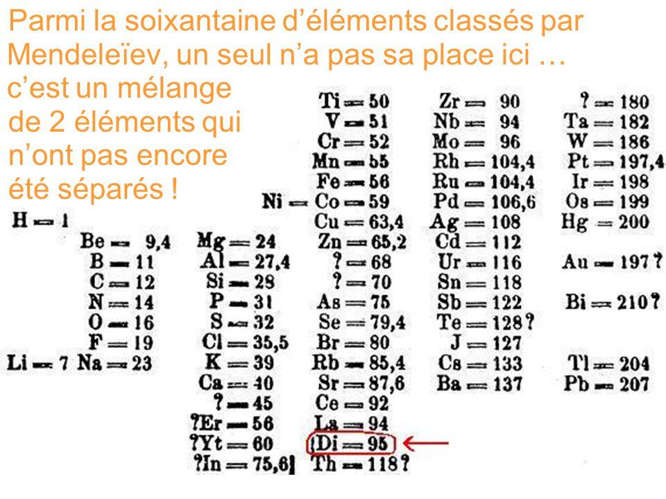 Parmi la soixantaine déléments classés par Mendeleïev, un seul na pas sa place ici … cest un mélange de 2 éléments qui nont pas encore été séparés !