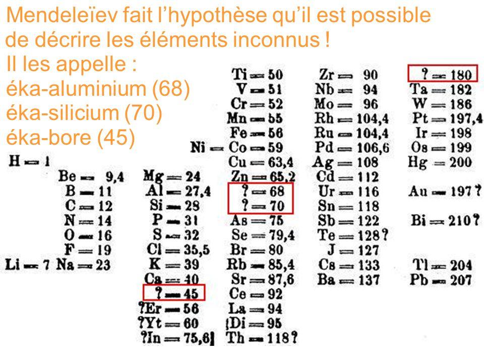 Mendeleïev fait lhypothèse quil est possible de décrire les éléments inconnus ! Il les appelle : éka-aluminium (68) éka-silicium (70) éka-bore (45)