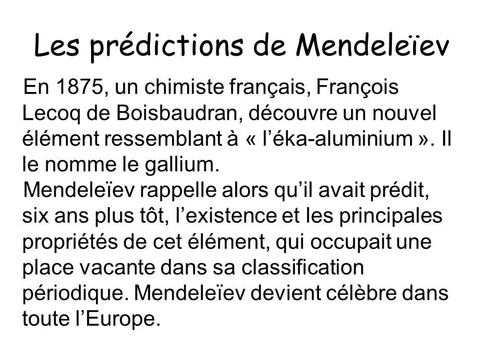 Les prédictions de Mendeleïev En 1875, un chimiste français, François Lecoq de Boisbaudran, découvre un nouvel élément ressemblant à « léka-aluminium