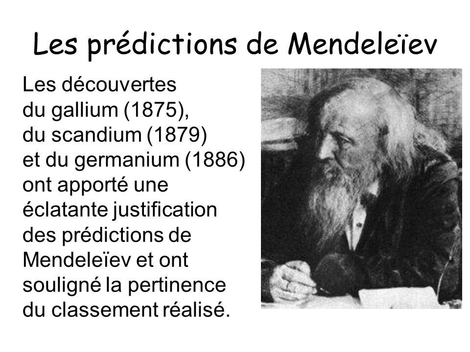 Les prédictions de Mendeleïev Les découvertes du gallium (1875), du scandium (1879) et du germanium (1886) ont apporté une éclatante justification des