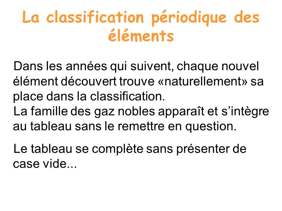 La classification périodique des éléments Dans les années qui suivent, chaque nouvel élément découvert trouve «naturellement» sa place dans la classif