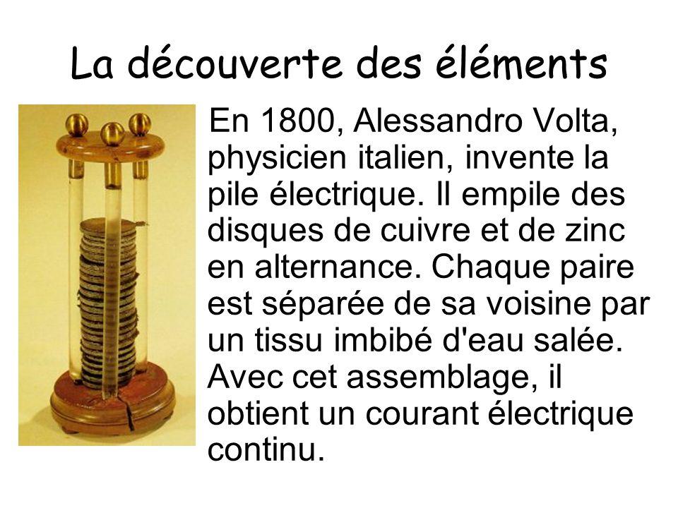 La découverte des éléments En 1800, Alessandro Volta, physicien italien, invente la pile électrique. Il empile des disques de cuivre et de zinc en alt