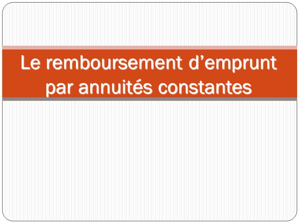 Le remboursement demprunt par annuités constantes
