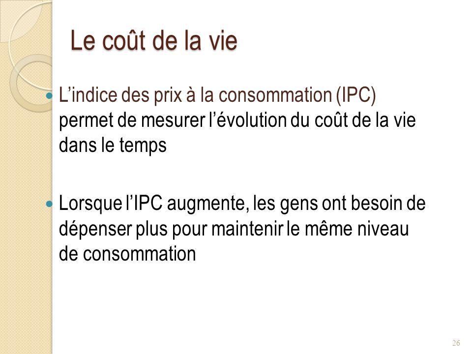 Le coût de la vie Le coût de la vie Lindice des prix à la consommation (IPC) permet de mesurer lévolution du coût de la vie dans le temps Lorsque lIPC augmente, les gens ont besoin de dépenser plus pour maintenir le même niveau de consommation 26