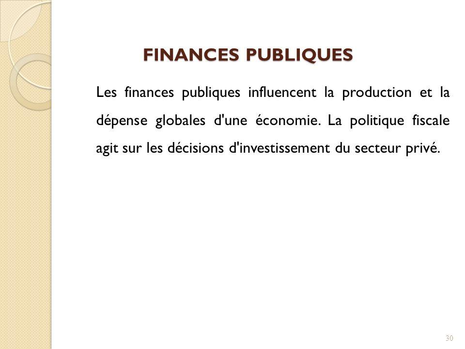 Les finances publiques influencent la production et la dépense globales d une économie.