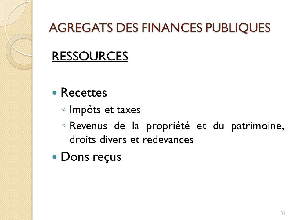 AGREGATS DES FINANCES PUBLIQUES RESSOURCES Recettes Impôts et taxes Revenus de la propriété et du patrimoine, droits divers et redevances Dons reçus 31