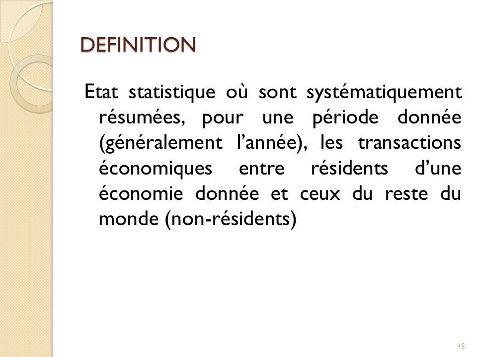 DEFINITION Etat statistique où sont systématiquement résumées, pour une période donnée (généralement lannée), les transactions économiques entre résidents dune économie donnée et ceux du reste du monde (non-résidents) 48