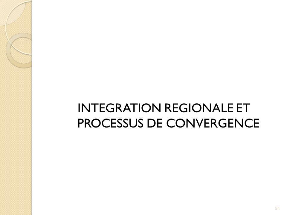 INTEGRATION REGIONALE ET PROCESSUS DE CONVERGENCE 54