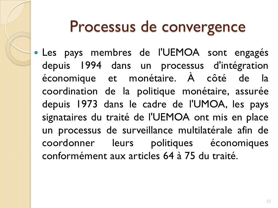 Processus de convergence Les pays membres de l UEMOA sont engagés depuis 1994 dans un processus d intégration économique et monétaire.