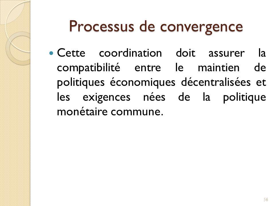 Processus de convergence Cette coordination doit assurer la compatibilité entre le maintien de politiques économiques décentralisées et les exigences nées de la politique monétaire commune.