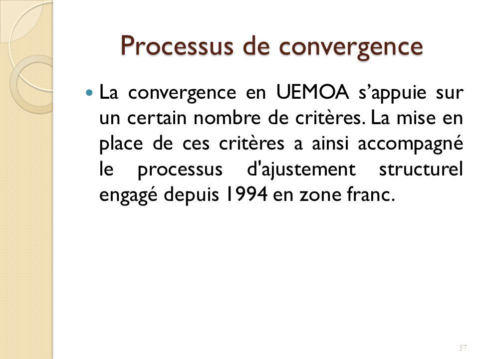 Processus de convergence La convergence en UEMOA sappuie sur un certain nombre de critères.