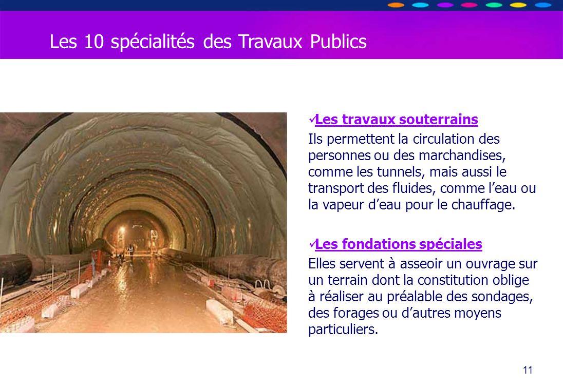 O PT IO 11 Les travaux souterrains Ils permettent la circulation des personnes ou des marchandises, comme les tunnels, mais aussi le transport des flu