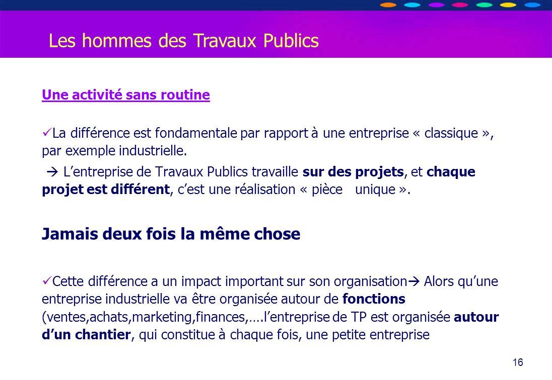 O PT IO 16 Les hommes des Travaux Publics Une activité sans routine La différence est fondamentale par rapport à une entreprise « classique », par exe