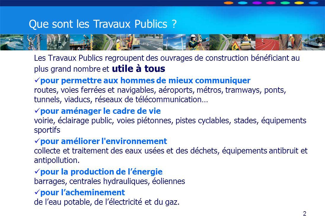 O PT IO 3 Les Travaux Publics - Habitat individuel (pavillons) - Habitat collectif (immeubles) - Hébergement (bureaux, écoles, hôpitaux, hôtels…).