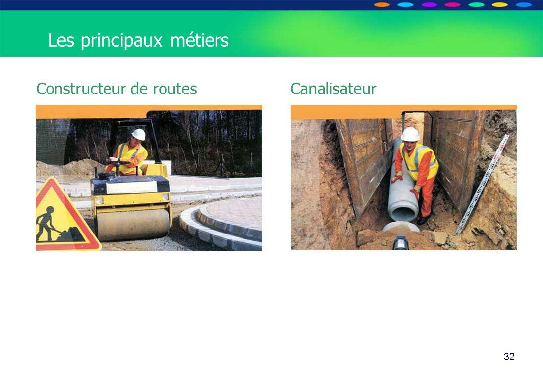 O PT IO 32 Constructeur de routes Canalisateur Les principaux métiers