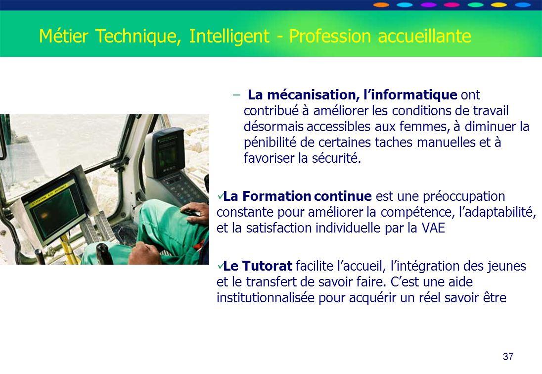 O PT IO 37 Métier Technique, Intelligent - Profession accueillante – La mécanisation, linformatique ont contribué à améliorer les conditions de travai