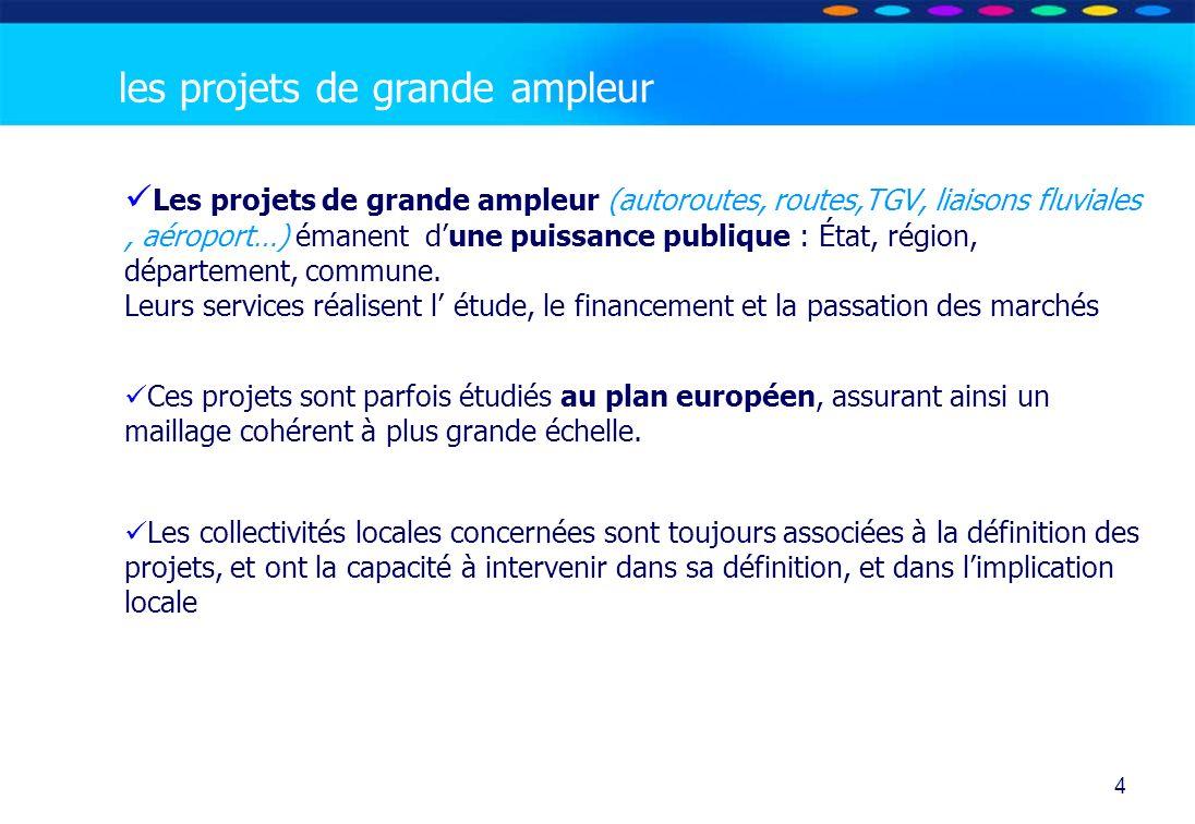 O PT IO 4 Les projets de grande ampleur (autoroutes, routes,TGV, liaisons fluviales, aéroport…) émanent dune puissance publique : État, région, départ